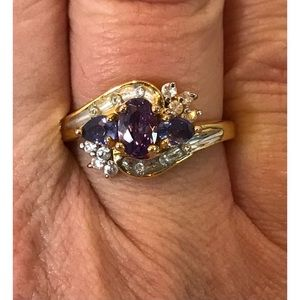 Sterling Gold Vermeil Amethyst CZ Cocktail Ring